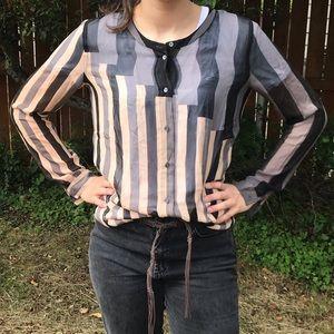 Aritzia Wilfred | 100% Silk Striped Button Blouse